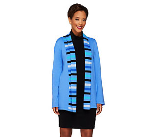 Bob Mackies Open Front Striped Shawl Collar Cardigan