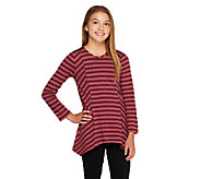 LOGO Littles by Lori Goldstein Stripe Knit Top with Asymmetric Hem - A259508