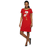As Is Bob Mackies Floral Embroidered Knit T-shirt Dress - A260408
