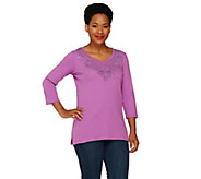 Quacker Factory Studded V-neck 3/4 Sleeve T-shirt with Flower Design - A260708
