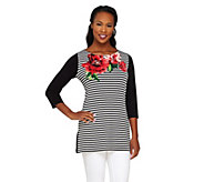 Susan Graver Striped & Solid Liquid Knit Tunic with Placement Print - A263008