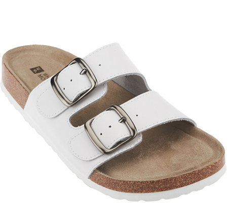 White Mountain Double Strap Slip On Sandals Helga