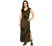 G.I.L.I. Petite V-neck Printed Knit Maxi Dress - A264108