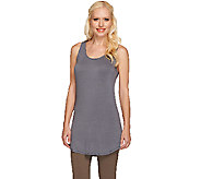 LOGO Layers by Lori Goldstein Racerback Knit Tank with Shirt Tail Hem - A264608
