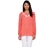 Susan Graver Artisan Woven Embellished Scoop Neck Top - A265008