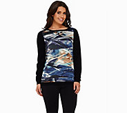 Susan Graver Rayon Nylon Sweater with Printed Woven Front - A268008