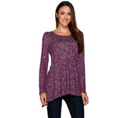 Lisa Rinna Collection Sweater Knit Sharkbite Hem Top