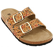 As Is White Mountain Double Strap Slip-on Sandals - Helga - A272008