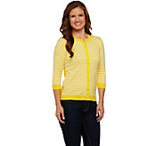 Isaac Mizrahi Live! Mixed Striped Cardigan with Rib Trim - A272708