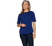 Denim & Co. Essentials Elbow Sleeve Top with Curved Hem - A274308