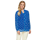 Susan Graver Polka Dot Sheer Chiffon BF Shirt Set with Pleat Detail - A275208