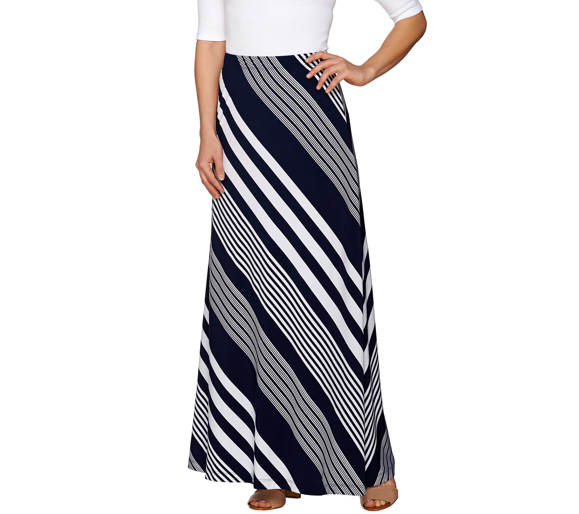 susan graver striped liquid knit maxi skirt