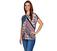 Studio by Denim & Co. Placement Print Short Sleeve Dolman Top - A279008