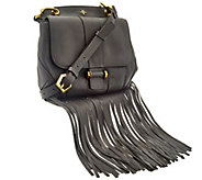 As Is orYANY Italian Grain Leather Fringe Crossbody - Fannie - A282408