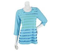 As Is Quacker Factory Bright Stripe 3/4 Sleeve T-shirt - A282708