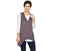 LOGO Lounge by Lori Goldstein Button Front Vest with Seaming Detail - A282808