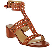 As Is Marc Fisher Leather T-strap Block Heel Sandals - Johnay - A286508