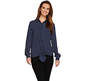 As Is Susan Graver Stretch Woven Tie Front Shirt - A286608
