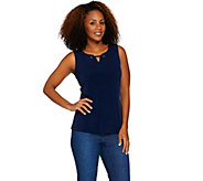 Susan Graver Liquid Knit Tank with Grommet Trim - A286708