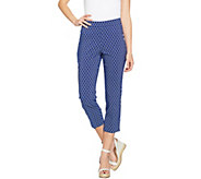 Susan Graver Printed Stretch Woven Pull-On Crop Pants - A288508