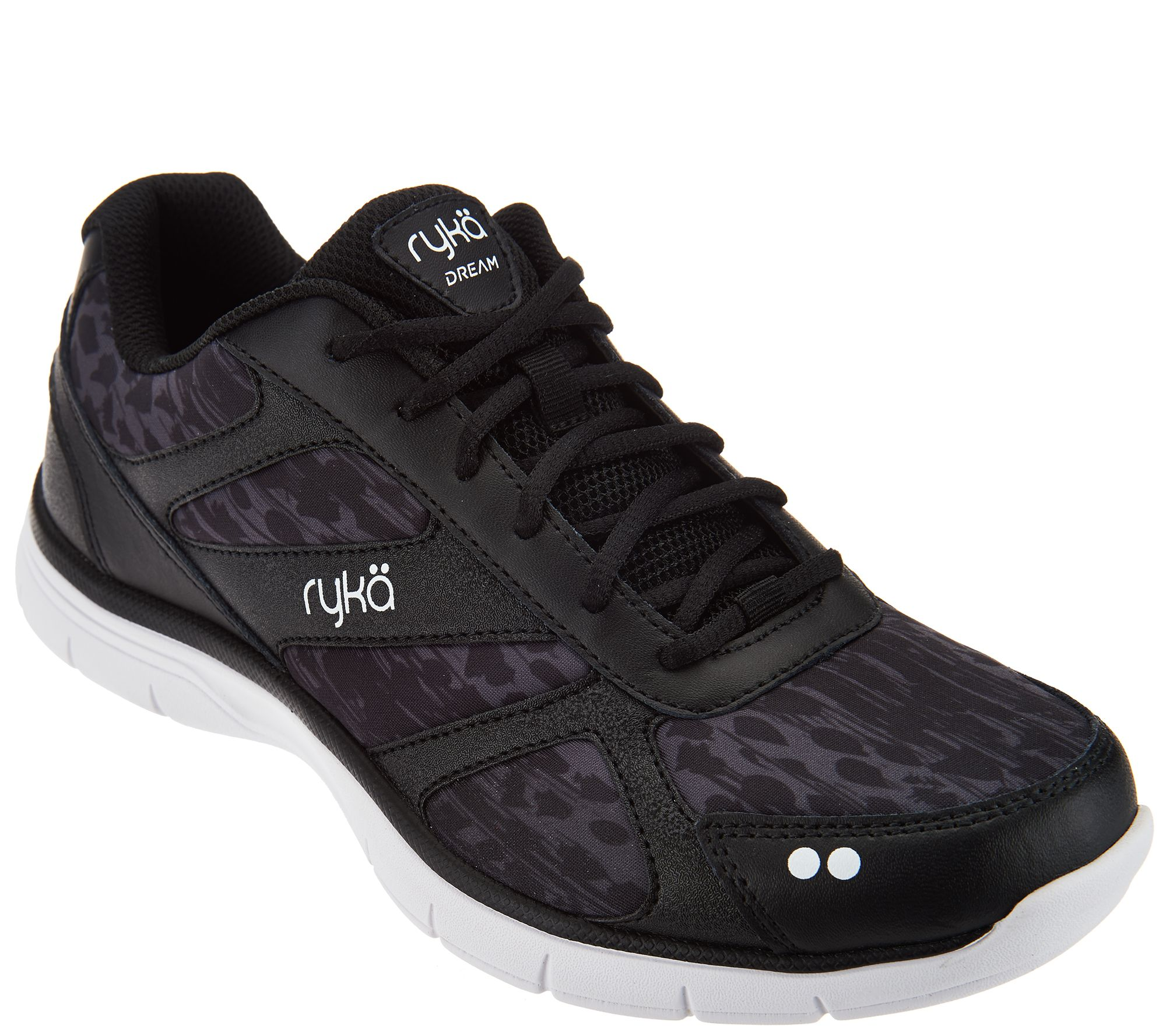 Ryka Leather and Mesh Lace-up Sneakers - Dream - Page 1 — QVC.com