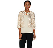 Bob Mackies 3/4 Sleeve Sequin Cardigan and Knit Tank Set - A290708