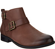 Vionic Orthotic Leather Boots with Buckle Detail - Logan - A293808