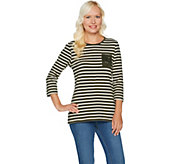 Denim & Co. Perfect Jersey Striped 3/4 Sleeve Top with Lace Pocket - A294008