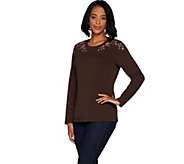 Denim & Co. Perfect Jersey Round Neck Long Sleeve Embroidered Top - A299208