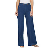 G.I.L.I. Petite Sailor Button Waist Wide Leg Jeans - A302108
