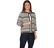 Joan Rivers Jacquard Knit Cardigan with 3/4 Sleeves - A302208