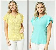 Susan Graver Set of 2 Liquid Knit Flutter Sleeve Tops - A306508