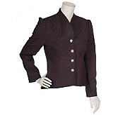Erika Kline Fully Lined Brocade Jacket with Rhinestone Buttons - A57408