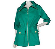 Susan Graver Cotton Anorak Jacket with Roll Tab Sleeves - A212909
