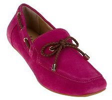 Isaac Mizrahi Live! Suede Driving Moccasins with Bow Detail