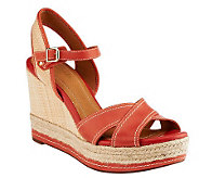 Clarks Artisan Leather Wedge Sandals w/ Woven Detail - Amelia Air - A231009