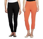 Women with Control Set of 2 Crop Pants & Ankle Leggings - A233109