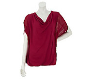 M by Marc Bouwer Cowl Neck Mixed Media Top with Tank - A233309
