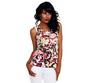 Joan Rivers Scoop Neck Sequin Front Printed Tank - A233509