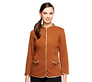 Bob Mackies Smart Denim Jacket w/ Faux Leather Trim - A237609