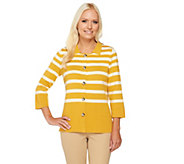 Liz Claiborne New York 3/4 Sleeve Striped Knit Sweater - A240509