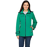Susan Graver Zip Front Jacket with Hood and Contrast Trim - A251309