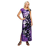 Bob Mackies Tropical Floral Print Maxi Dress with Side Slit - A252309
