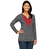 Susan Graver Liquid Knit Printed Long Sleeve Tunic w/ Embellishments - A252409