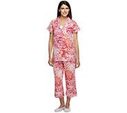Isaac Mizrahi Live! Chrysanthemum Floral Printed Pajama Set - A254009