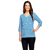 Denim & Co. Tiered Striped Knit 3/4 Sleeve V-neck Top - A256309