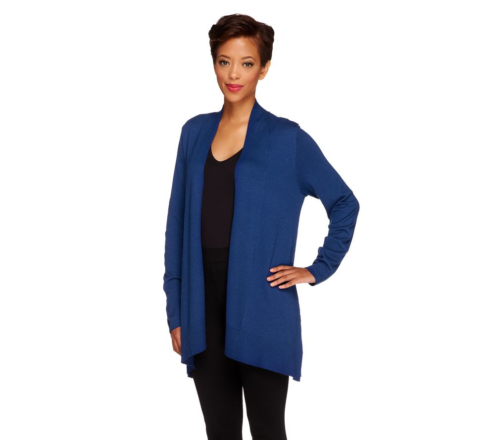 Susan Graver Cascade Front Long Sleeve Cardigan Sweater - Page 1 ...
