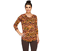 Susan Graver Printed Liquid Knit Drape Neck Banded Bottom Top - A258609