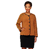 Bob Mackies Button Front Fleece Jacket with Sleeve Embroidery - A259409
