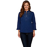 Quacker Factory Sparkle & Shine Stretch Twill Jacket with Ruffle - A261709